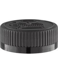 38mm 38-400 Black Child Resistant Cap (Pictorial) w/PS22 Liner (Printed)