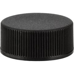 24mm 24-400 Black Ribbed (Matte Top) Plastic Cap w/HIS Liner for PET