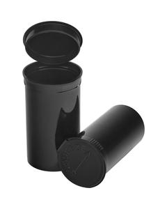 19 Dram Black Opaque Plastic Pop Top Container, 225/cs