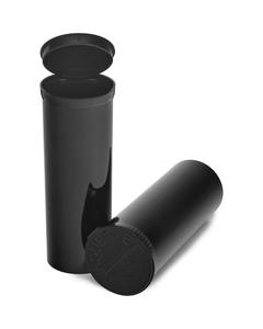 60 Dram Black Opaque Plastic Pop Top Container, 75/cs