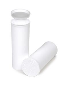 60 Dram White Opaque Plastic Pop Top Container, 75/cs
