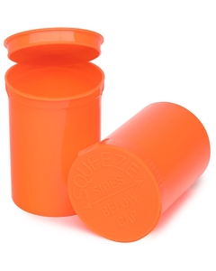 30 Dram Orange Opaque Plastic Pop Top Container, 150/cs