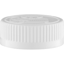 38mm 38-400 White Child Resistant Cap (Pictorial) w/Foam Liner (3-ply)