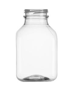 8 oz. Clear PET Plastic Tamper Evident Square Bottle, 38mm 358DBJ