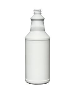 32 oz. White/Blue HDPE Plastic Carafe Bottle, 28mm 28-410