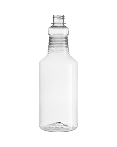 32 oz. Clear PET Plastic Carafe Bottle, 28mm 28-410, 48 Grams