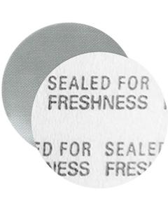 """15mm Foil Pressure Sensitive Liner, """"Sealed for Freshness"""" in Black (Uni-Foam™ PS-F1)"""