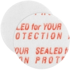 """15mm Pressure Sensitive Liner, """"Sealed for Your Protection"""" in Red"""