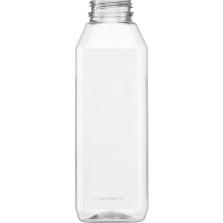 16 oz. Clear PET Plastic Tamper Evident Square Bottle, 38mm 358DBJ
