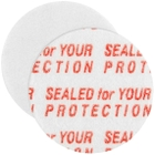 """18mm Pressure Sensitive Liner, """"Sealed for Your Protection"""" in Red"""