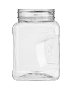 16 oz. Clear PET Plastic Square Pinch Grip Jar, 63mm 63-400