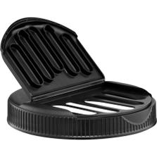 110mm 110-400 Black Slotted Flapper Cap, 5 Slots, Unlined