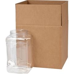 128 oz. Clear PET Plastic Square Pinch Grip Jar, 110mm 110-400, 4x1 Reshipper Box