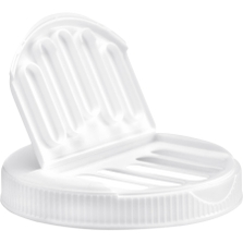 110mm 110-400 White Slotted Flapper Cap, 5 Slots, Unlined