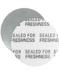 """24mm Foil Pressure Sensitive Liner, """"Sealed for Freshness"""" in Black (Uni-Foam™ PS-F1)"""