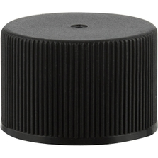24mm 24-410 Black Ribbed (Matte Top) Plastic Cap w/Foam Liner (3-ply)