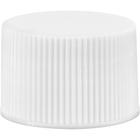 24mm 24-410 White Ribbed Plastic Cap w/Foam Liner