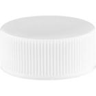 24mm 24-400 White Ribbed (Matte Top) Plastic Cap w/PS22 Liner (Printed)