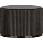 24mm 24-410 Black Ribbed (Matte Top) Plastic Cap w/PS22 Liner (Printed)