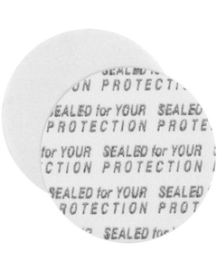 "24mm Pressure Sensitive Liner, ""Sealed for Your Protection"" in Black"