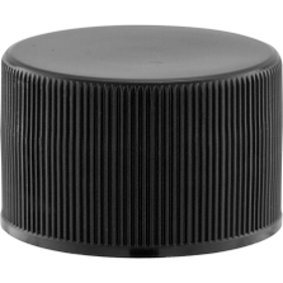 28mm 28-410 Black Ribbed (Matte Top) Plastic Cap w/Foam Liner (3-ply)