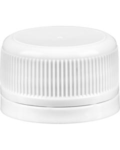 28mm Drop-Lok® White Ribbed Plastic Cap w/EVA Liner