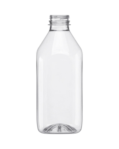 32 oz. Clear PET Plastic Tamper Evident Square Bottle, 38mm 358DBJ