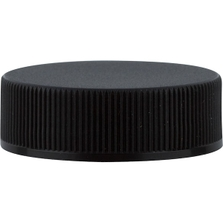33mm 33-400 Black Ribbed (Matte Top) Plastic Cap w/PS22 Liner (Plain)