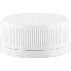 33mm Drop-Lok® White Ribbed Plastic Cap w/HIS TE for HDPE