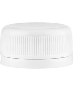 33mm Drop-Lok® White Ribbed Plastic Cap w/EVA Liner