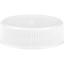 33mm 33-400 White Ribbed (Matte Top) Plastic Cap w/Foam Liner (3-ply)