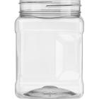 32 oz. Clear PET Plastic Square Pinch Grip Jar, 89mm 89-400
