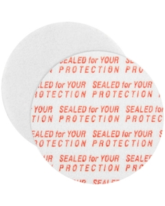 """35mm Pressure Sensitive Liner, """"Sealed for Your Protection"""" in Red"""