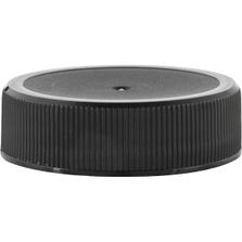 38mm 38-400 Black Ribbed (Matte Top) Plastic Cap w/Foam Liner (3-ply)