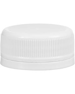 38mm Drop-lok White Ribbed Plastic Cap w/Foam Liner (3-ply)
