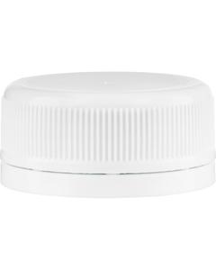 38mm Drop-Lok® White Ribbed Plastic Cap w/EVA Liner