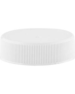 38mm 38-400 White Ribbed (Matte Top) Plastic Cap w/Foam Liner (3-ply)