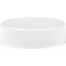38mm 38-400 White Ribbed (Matte Top) Plastic Cap, Unlined