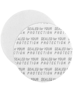 "38mm Pressure Sensitive Liner, ""Sealed for Your Protection"" in Black"