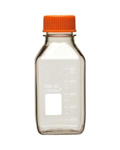 500ml Clear Polycarbonate Plastic Square Media Bottle w/Cap (Corning® #431432)