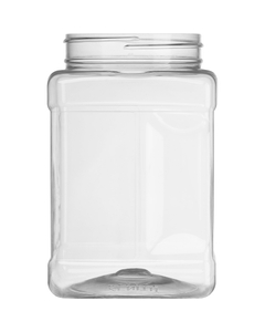 48 oz. Clear PET Plastic Square Pinch Grip Jar, 89mm 89-400
