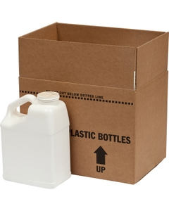 1 Gallon 5 White F-Style Slant with Handle HDPE Bottle, 63mm 63-44, 4x1 Reshipper Box