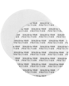 "53mm Pressure Sensitive Liner, ""Sealed for Your Protection"" in Black"