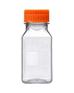 250ml Clear PET Plastic Square Media Bottle w/Cap (Corning® #431531)
