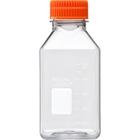 500ml Clear PET Plastic Square Media Bottle w/Cap (Corning® #431532)