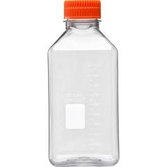 1L Clear PET Plastic Square Media Bottle w/Cap (Corning® #431533)
