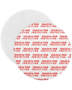 """50mm Pressure Sensitive Liner, """"Sealed for Your Protection"""" in Red"""