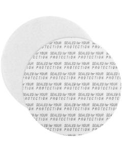 "58mm Pressure Sensitive Liner, ""Sealed for Your Protection"" in Black"