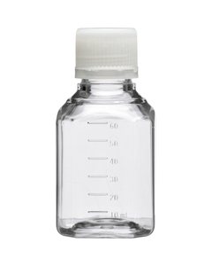 60ml Clear PET Plastic Octagonal Media Bottle w/Cap, Sterile (Corning® #431730)