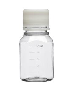 125ml Clear PET Plastic Octagonal Media Bottle w/Cap, Sterile (Corning® #431731)